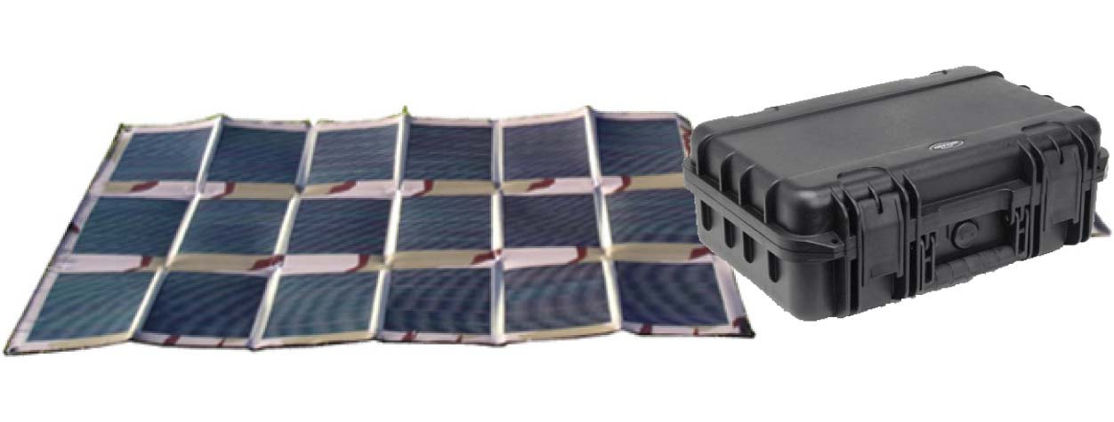 Light-weight, portable solar panels, charge controllers and storage batteries.